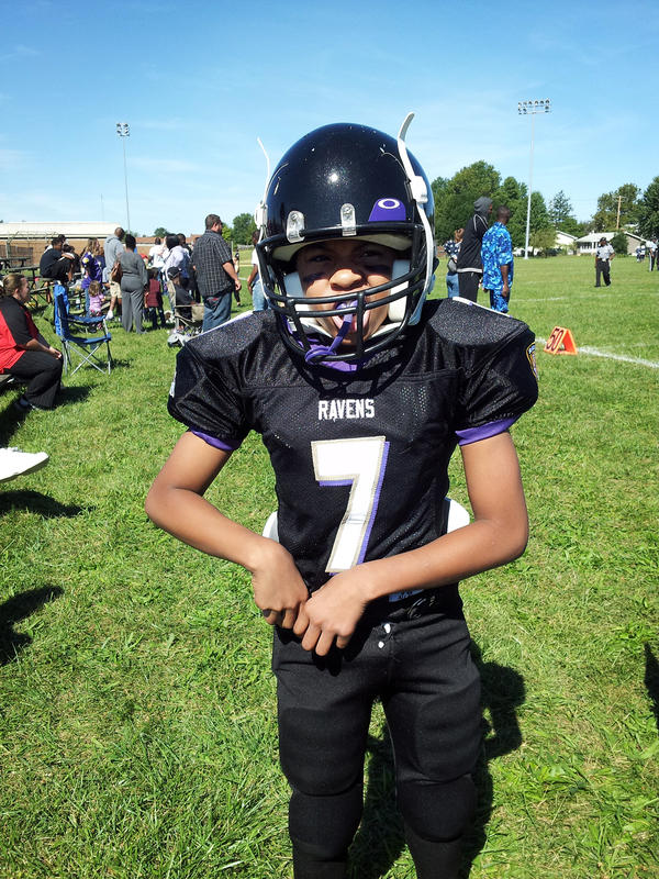 Timothy Williams IV, Lenise White's son, getting ready for a game two years ago, at age 13.