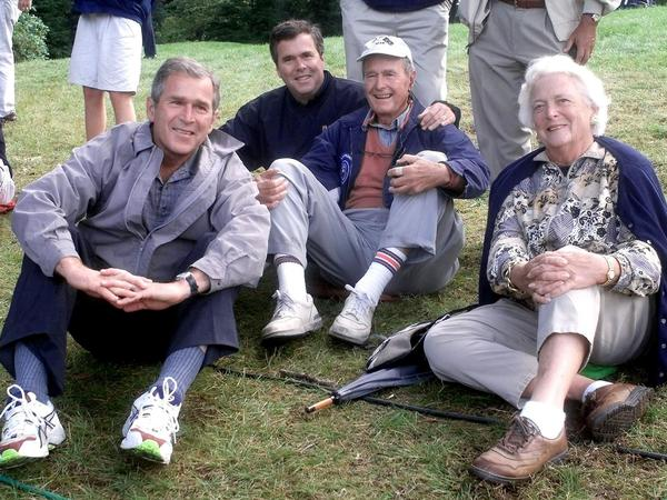 The Bush family at the Ryder Cup golf competition in 1999. From left to right, then-Texas Governor George W. Bush, then-Florida Governor Jeb Bush, former President George H.W. Bush and former first lady Barbara Bush.