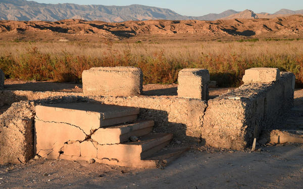 Ruins are shown in the ghost town of St. Thomas on August 3, 2015 in the Lake Mead National Recreation Area, Nevada. The town was founded in 1865 by Mormon pioneers at the site where the Muddy River flowed into the Colorado River and at one point had about 500 settlers. The town was abandoned in 1938 after the construction of the Hoover Dam caused the Colorado River to rise. The area was once submerged in 60 feet of water but became entirely exposed to the air as a severe drought in the Western United States over the last 15 years has caused Lake Mead to drop to historic low levels. (Ethan Miller/Getty Images)