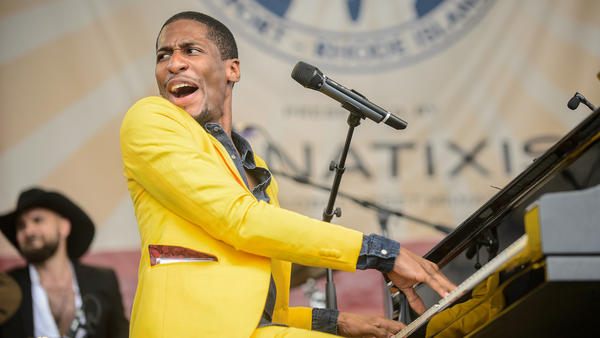 Jon Batiste, seen here at the 2014 Newport Jazz Festival, will take on a new gig as the bandleader for CBS' <em>Late Show With Stephen Colbert</em>.