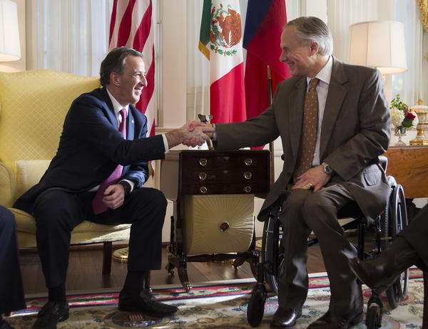 Mexican Secretary of Foreign Affairs José Antonio Meade Kuribreña shakes hands with Gov. Abbott, when the Secretary visited Austin in July.