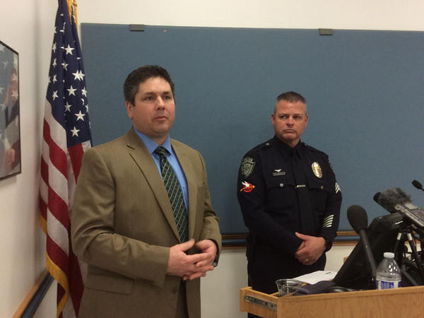 File photo. Franklin County Proecutor Shawn Sant and Kennewick Police Sgt. Ken Lattin deliver a media briefing on Tuesday, February 19.