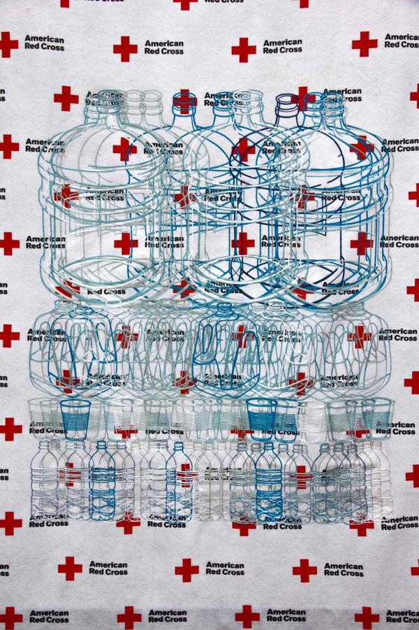 After Superstorm Sandy, Saucedo used aid materials from the Red Cross to create <em>Red Cross Blanket (Family Portrait as Water).</em>