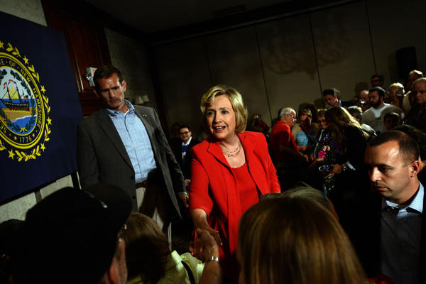 Democratic Presidential candidate Hillary Clinton speaks at a reception September 5, on the campaign trail in Manchester, New Hampshire. (Darren McCollester/Getty Images)