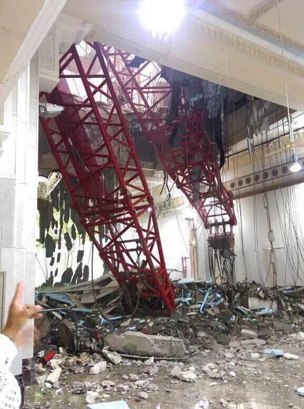 A general view from inside the Grand Mosque shows part of a large crane that collapsed on the mosque on Friday. The civil defense authority of Saudi Arabia has confirmed scores of people were killed and many more wounded.