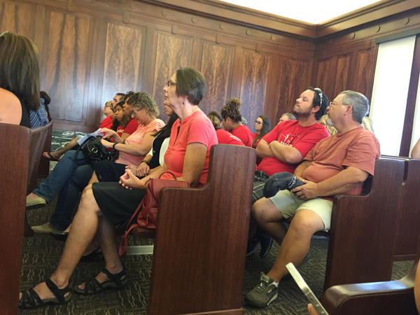 Members of the Pasco Association of Educators learned in the Franklin County courthouse that their union would be fined $2,000 per day as their strike continues.