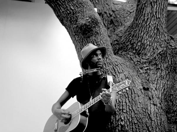 "Singer Gary Clark Jr. in a scene from his video for the song ""Church."""
