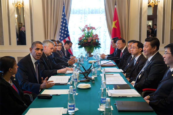 File photo of President Barack Obama and Chinese President Xi Jinping at the 2013 G20 Summit in St. Petersburg, Russia. Xi will visit Seattle September 22-24, 2015.