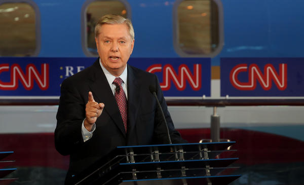 Republican presidential candidate Sen. Lindsey Graham speaks during the presidential debates at the Reagan Library on Wednesday in Simi Valley, Calif.