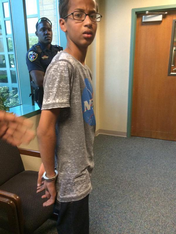 This picture, posted on Twitter and reportedly taken by a family member, shows Ahmed Mohamed in handcuffs.