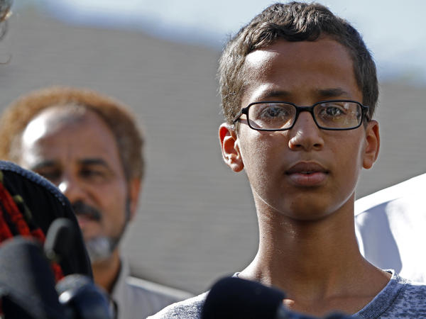 Ahmed Mohamed speaks during a news conference on Wednedsay in Irving, Texas. The 14-year-old was detained for building what a teacher thought was a bomb; it was an alarm clock.