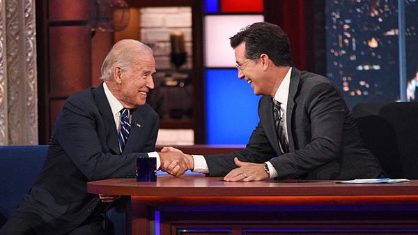 Vice President Joe Biden and Stephen Colbert.