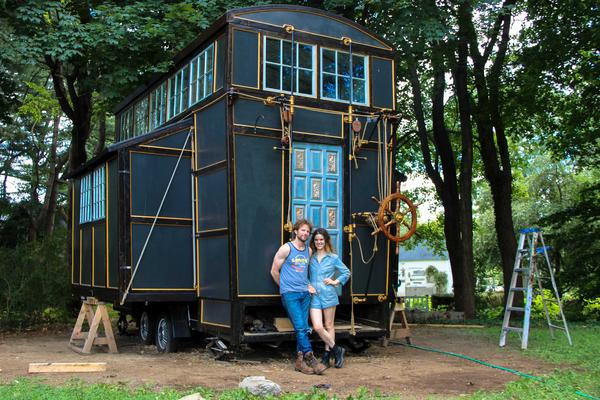 Brandon Batchelder, Chloe Barcelou and their tiny house contraption.