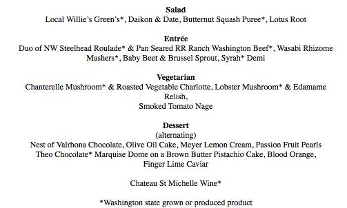 The menu for Tueday evening's presidential dinner includes a number of Washington state grown or produced products.