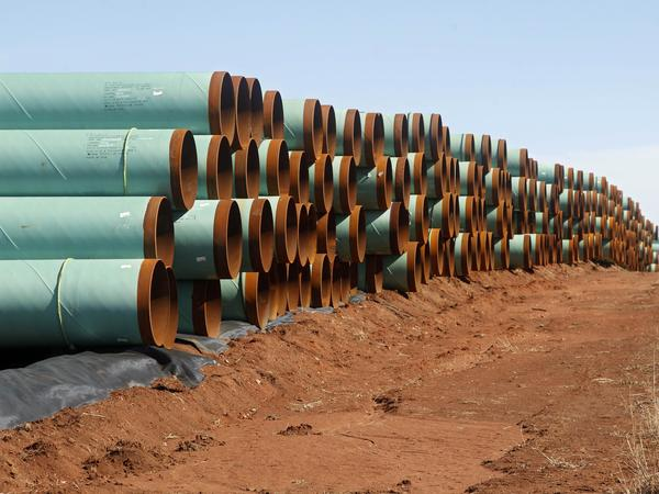 Pipe for the stalled Keystone XL pipeline stacked near Ripley, Okla.