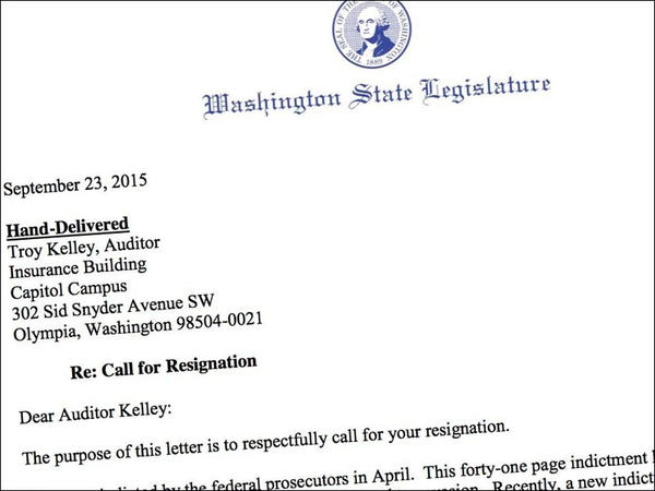 Leaders of the Washington legislature asked Troy Kelley to resign in a hand-delivered letter.