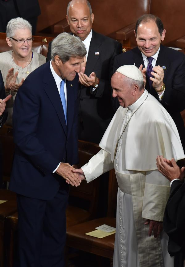 Secretary of State John Kerry's hand was one of the few he shook as he arrived to address  Congress on Thursday.