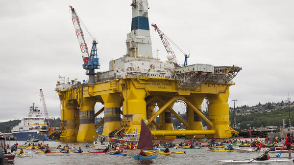 ShellNo flotilla participants float near the Polar Pioneer oil drilling rig during demonstrations in May against the presence of the first of two Royal Dutch Shell oil rigs in the Port of Seattle.
