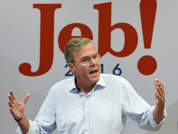 Jeb Bush speaks during a campaign rally earlier this month.