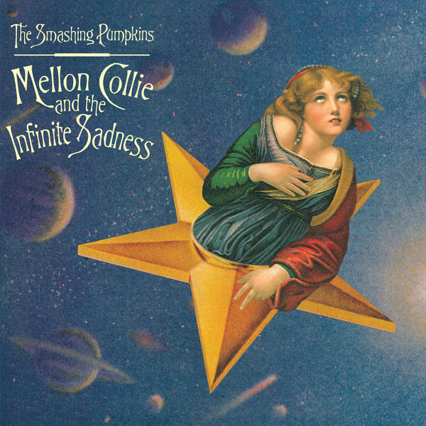 Craig's finished cover for <em>Mellon Collie.</em> Here, the Raphael body is pitched forward and sized to fit with the face of Greuze's girl. The result transforms Saint Catherine's erect posture into an enraptured swoon and makes the composite figure appear to coast through space.