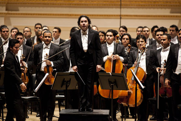 Gustavo Dudamel and his orchestra accept the wild enthusiasm from the Carnegie Hall audience, in a program of rarely heard Latin American works.