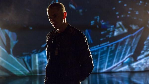 "Eminem, in a still from his video for ""Don't Front,"" a bonus track on <em>The Marshall Mathers LP 2</em>."
