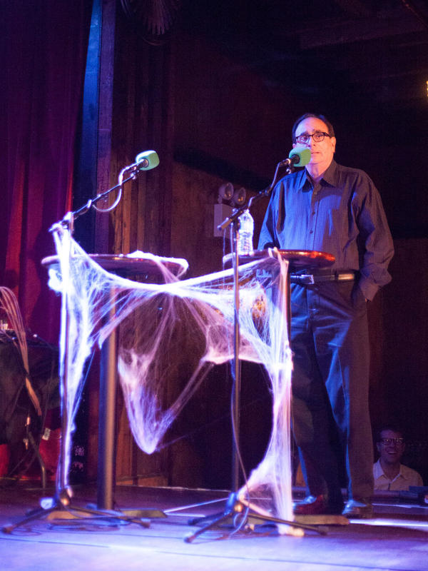"""Author R.L. Stine tries to guess whether <em>Ask Me Another </em>listeners find """"ventriloquist dolls"""" or """"a swarm of bees"""" scarier."""
