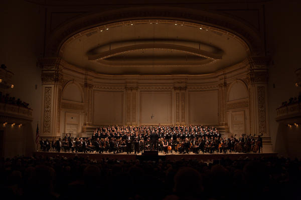 With a full orchestra and 160-voice chorus, plus the Brooklyn Youth Chorus, every inch of Carnegie Hall's huge stage is filled.