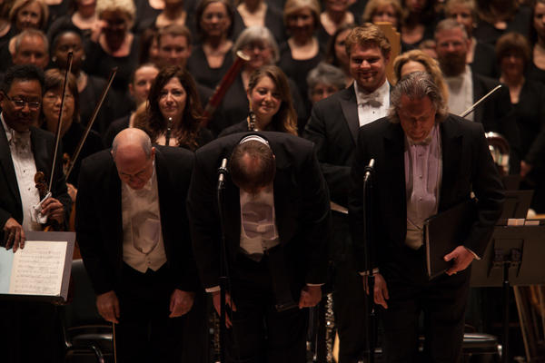 Final bows taken after the ethereal ending to Britten's 80-minute <em>War Requiem</em>.