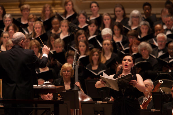 Soprano Evelina Dobraceva also sings the music from the traditional Latin mass.
