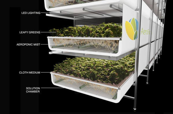 A diagram showing AeroFarms' patented aeroponic indoor growing technology.