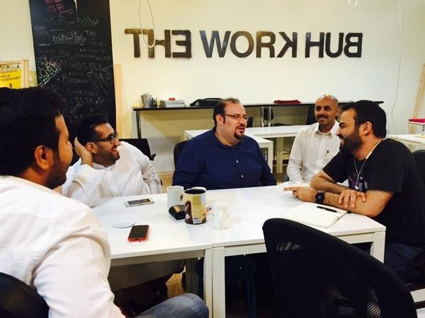 Abdullah Hamed, at far right, meets with Saudi online game developers including Ahmed Jadallah, at center, in Riyadh.