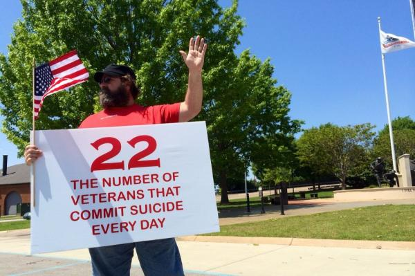 Veterans and their spouses gathered in Huntsville, Alabama in April as part of a movement called '22 Too Many.'