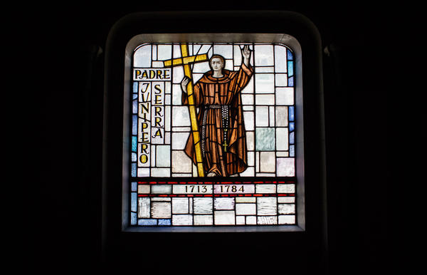 A stained-glass window depicting Father Junipero Serra in the Basilica Parish in Mission Dolores.