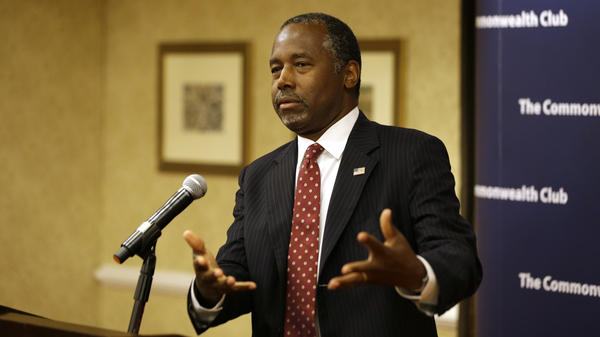 Republican Presidential candidate Dr. Ben Carson answers questions at a news conference Tuesday in San Francisco.