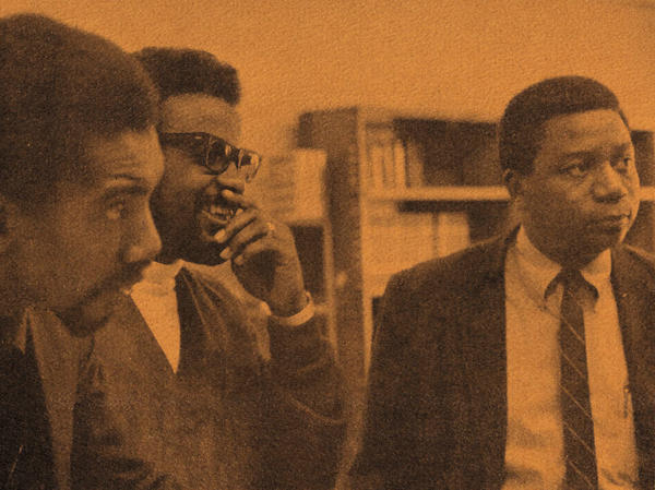 Henry Dumas (from left), William G. Davis and Eugene B. Redmond in 1967, during their tenure as teacher-counselors at the Experiment in Higher Education at Southern Illinois University.