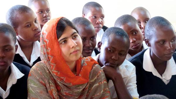 Malala Yousafzai at the Kisaruni Girls School in Massai Mara in Kenya on May 26, 2014.