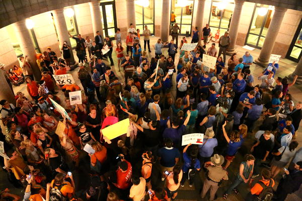 People protested a restrictive Texas abortion law, HB 2, during the 2013 legislative session.