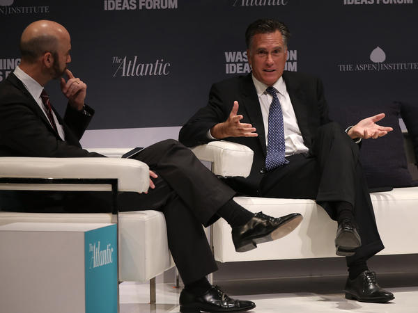 Former Republican presidential candidate Mitt Romney spoke at the Washington Ideas Forum with James Bennet of <em>The Atlantic </em>on Wednesday.