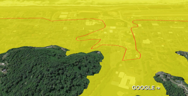 <p>A comparison of tsunami inundation lines in Gold Beach. The red lines are where the 1995 maps end, the yellow around it is a projection from a new map.</p>
