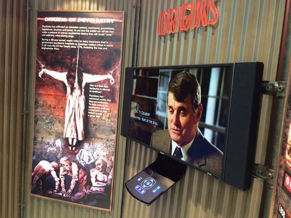 """One of the exhibits at the Citizens Commission on Human Rights museum in Clearwater, called """"Psychiatry: Industry of Death."""""""