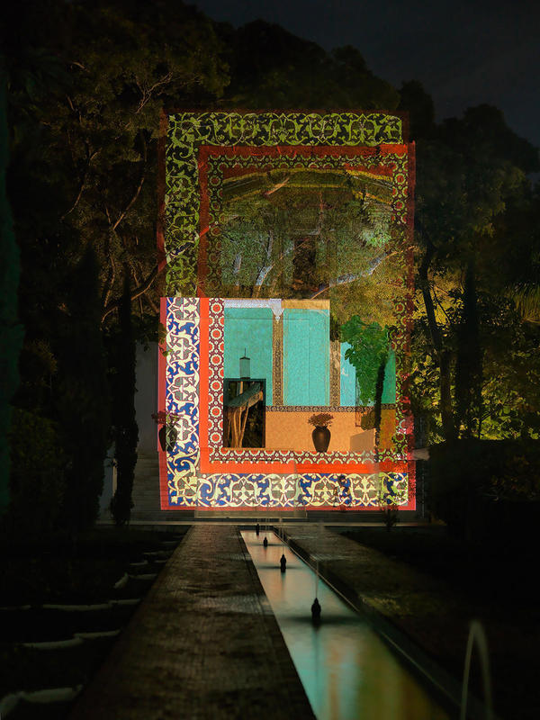 Once in New York, Sikander began mixing modern techniques with traditional elements of Islamic art. <em>Unseen</em> is a projection that also features intricate Indo-Persian borders.