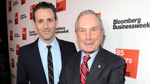 Josh Tyrangiel, who resigned this week, and Michael Bloomberg attend <em>Bloomberg Businessweek's</em> 85th Anniversary Celebration in 2014.