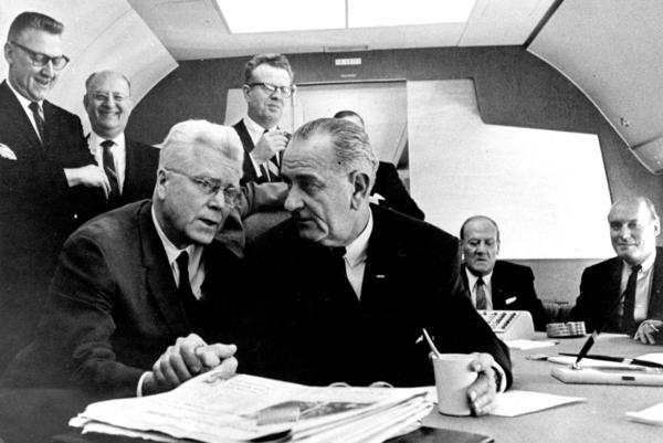 "President Lyndon B. Johnson giving Rep. Michael Feighan the famous ""Johnson treatment"" --€"" using his imposing physical presence to persuade --€"" aboard Air Force One during a presidential trip to Cleveland in 1964. LBJ put heavy pressure on Feighan to support the new immigration legislation. Feighan eventually agreed,€"" but he demanded a crucial change to the act."