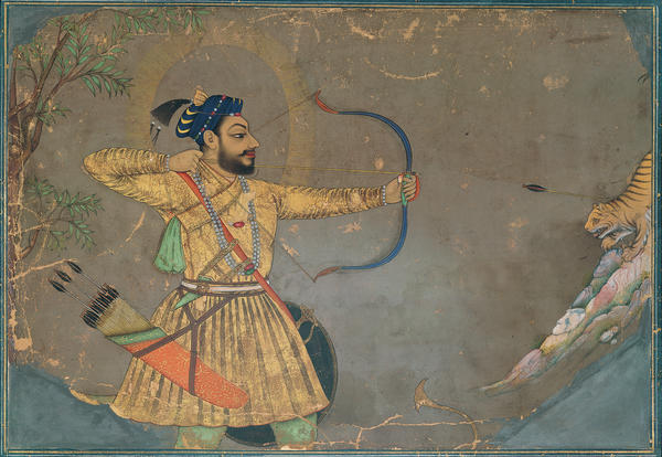 "Traditionally, India's miniature paintings told stories of heroism, lovers and political intrigue through gilded works of art. <em>Sultan 'Ali 'Adil Shah II Slays a Tiger</em> (ca. 1660) is part of that tradition. <strong><a href=""http://media.npr.org/assets/img/2015/10/02/66.-sultan-ali-adil-shah-ii-slays-a-tiger-300_archive.jpg"" target=""_blank"">Click here to enlarge.</a></strong>"