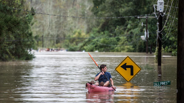 A man kayaking down Tall Pines Circle, a street in Columbia, S.C., after the flood (October 4, 2015)