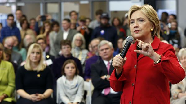 Democratic presidential candidate Hillary Clinton speaks during a campaign stop at Manchester Community College on Monday.