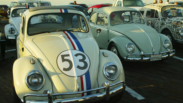 """Herbie the Love Bug"" and other vintage Volkswagens are lined up in 2005 in Santa Monica, Calif., as part of a celebration of VW's 50th anniversary in the U.S."