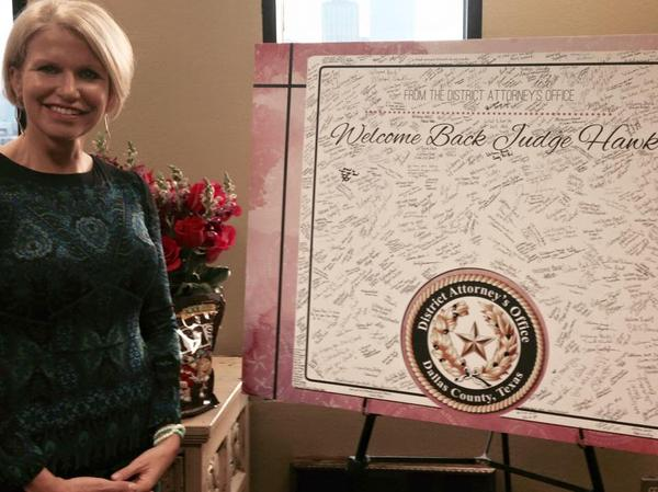 District Attorney Susan Hawk on her return to work.