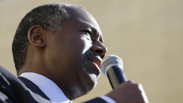 Republican presidential candidate Dr. Ben Carson speaks during a town hall meeting in Ankeny, Iowa.